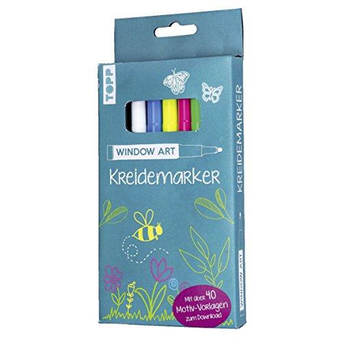 Window Art Kreidemarker: 5 Kreidemarker (Weiß, Gelb, Blau, Grün, Pink) mit über 40 Motiv-Vorlagen zum Download