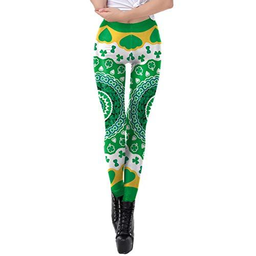 Amosfun leggings de trébol verde de cintura alta con cuatro hojas de trébol leggings para el día de San Patricio accesorios elásticos ajustados St Patty's Day Outfit talla L