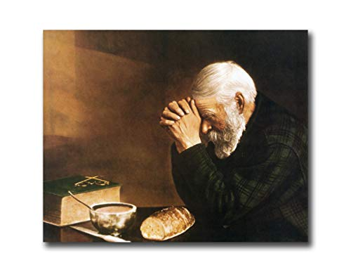 Daily Bread Man Praying at Dinner Table Grace Religious Art Print 16x20