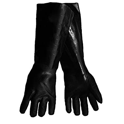 Elbow Length Chemical Resistant Rubber Work Gloves, with Cotton Fleece Lining