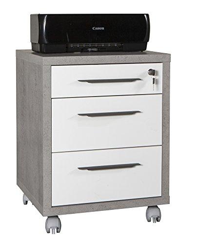 Composad Cassettiere per ufficio con 3 cassetti e ruote di colore Cemento bianco lucido - linea Disegno