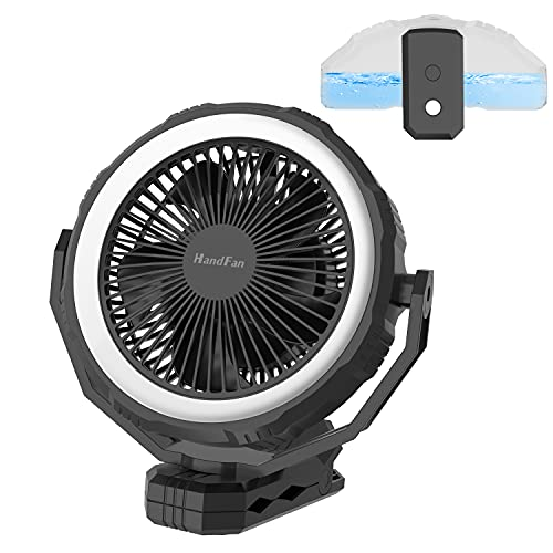 10000mAh Portable Misting Fan 8-Inch, Reinforced Clip on Fan Designed for Golf Cart/Stroller, Rechargeable Fan with lights/400ml Water Tank/5H-Timer/4 Speeds for Camping Beach RV Treadmill Office Desk