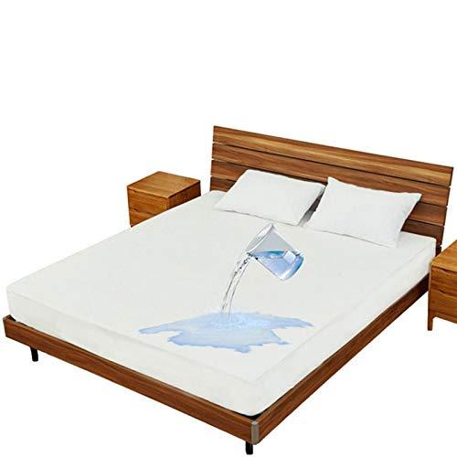 Protector De Colchón Impermeable Y Transpirable Cubre Colchón Transpirable Funda De Cama con Correas Protección contra Líquidos (Color : White, Size : 150x200+30cm)