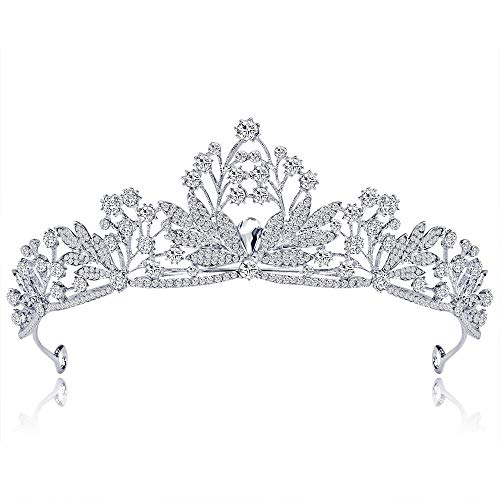 Goodvk Kristallkronen Diademe Hochzeit Abschlussball Geburtstag Diademe Prinzessin Tiara Für Mädchen Und Frauen Für Hochzeit Prom Festzug-Partei (Farbe : Silver, Size : Free Size)