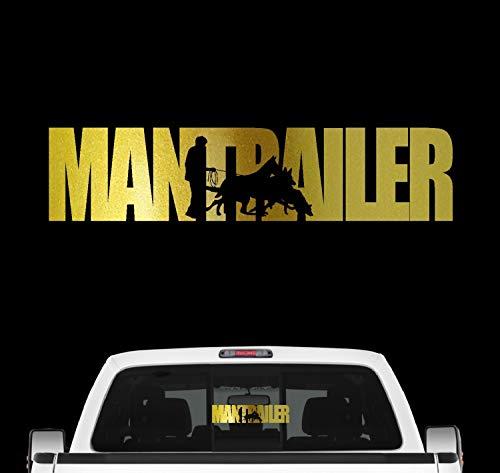 Siviwonder Mantrailer Hundesport Auto Aufkleber Hund Folie Rettungshund Suchhund Farbe Gold Metallic, Größe 60cm