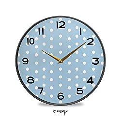 PUTIEN Round Wall Clock, Watercolor Style White Spots on Blue Backdrop Retro Style Polka Dots Vintage Wall Clocks Battery Operated Kitchen/Home/School Patio Decor 9.5