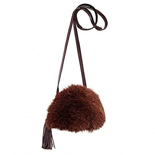 Loeffler Randall Crossbody Pouch Handbag in Gaucho/Maroon Fox Fur