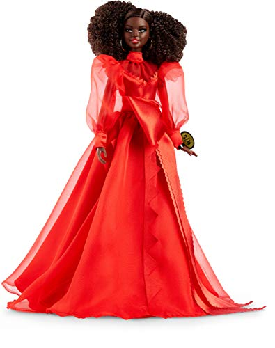 Barbie Collector Mattel 75th Anniversary Doll in Red Chiffon Gown, Brunette