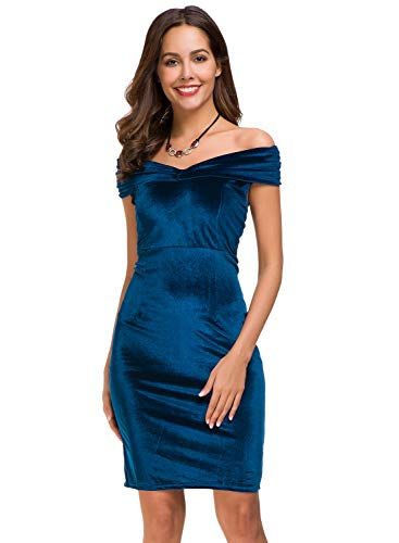 Womens Vintage Off Shoulder Shawl Velvet Bodycon Dresses Sexy Midi Slim Fit Dress for Party Cocktail Formal Evening Wedding Blue
