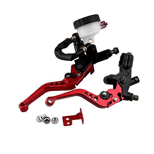 KKmoon Leve Freno Frizione Moto 7/8 pollice, Universale Regolabile per Cilindro Principale Set Serbatoio , Rosso