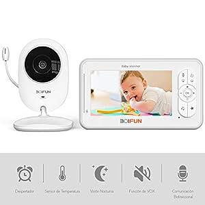 Vigilabebés con Cámara, BOIFUN Bebé Monitor Inteligente con Pantalla LCD de 4.3″, VOX, Visión Nocturna, Monitoreo de Temperatura, Despertador, Comunicación Bidireccional, Recargable