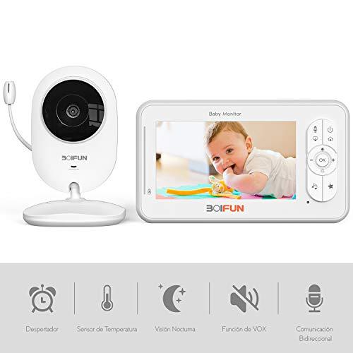 Vigilabebés con Cámara, BOIFUN Bebé Monitor Inteligente con Pantalla LCD de 4.3