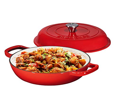 Enameled Cast Iron Casserole Braiser – Pan with Cover, 3.8-Quart, Gradient Red