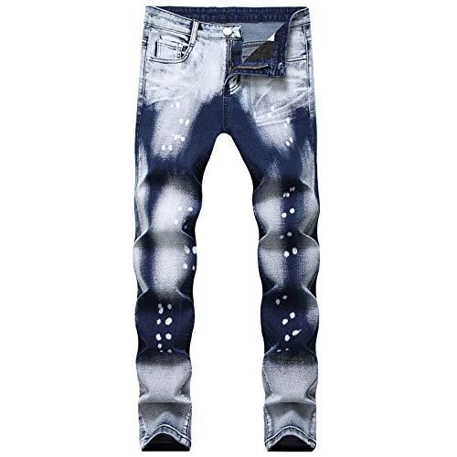 Beastle Pantalones Vaqueros para Hombre con Estampado de Personalidad a la Moda, Pantalones Vaqueros Ajustados de Pierna Recta, Pantalones de Mezclilla de Todo fósforo Informales de Moda 40