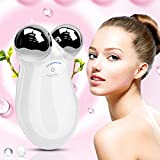 Masajeador facial OOOUSE rodillos masajeador facial con microcorriente cara delgada reafirmante arrugas Facial belleza herramientas eliminar Puffiness Eléctrico Beauty Instrumento (blanco/rosa)