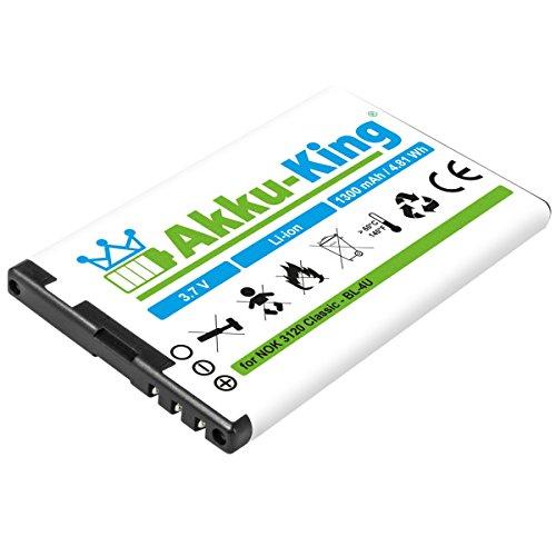 Akku-King Akku kompatibel mit Nokia BL-4U - Li-Ion 1300mAh - für 3120 Classic, 500, 8800 Arte, Asha 206, 300, 308, 309, 6212 Classic, 6600 Slide