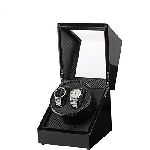 MAATCHH Cajas de reloj 2 cajas de madera doble automáticas para guardar relojes, simples y elegantes (color negro, tamaño: S)