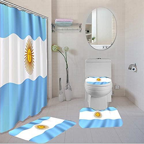 Cortina de baño de poliéster con Bandera Nacional con Ganchos Gratis, Bandera de Argentina, Cortina de Ducha Personalizada, Cubierta de Tapa de Inodoro, alfombras de baño