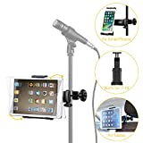Moukey Mmsph-1 Mic Stand Tablet Holder, iPad Mount, Phone Holder for Microphone Music Stand, Car...