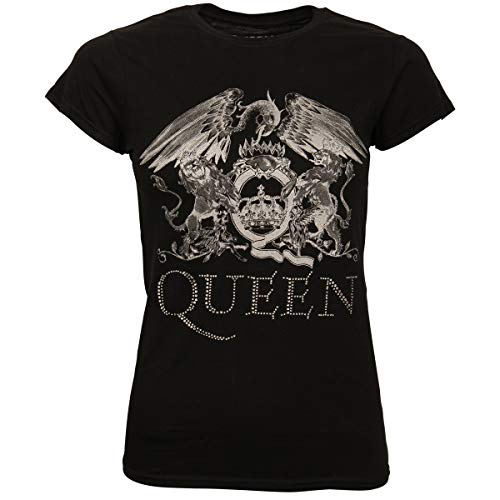 Queen Damen Frauen T-Shirt Shirt Band Merchandise Merch Fanartikel Logo Schwarz Glitzer Strass (XL)