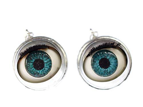 Miniblings Augen Ohrringe Hänger Halloween Augen Puppe Wackelauge Mensch Grusel - Handmade Modeschmuck I Ohrhänger Ohrschmuck versilbert