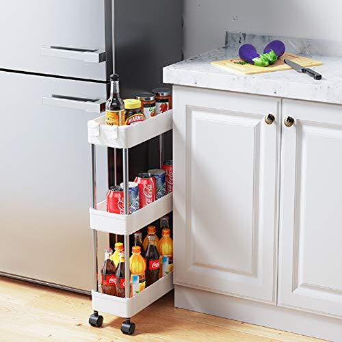 Warmiehomy 2/3/4 Ebenen Nischenwagen Schmal Rollwagen Platzsparend Lagerregal Groß Standregal für Küche Bad Office Wohnzimmer 40 x 12.5 x 35/60/86CM Weiß