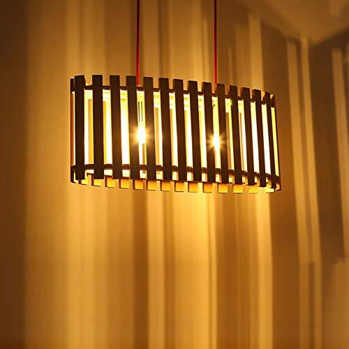 SYyshyin Lámpara De Techo De Arte De Madera LED Lámpara Marrón Burlywood Amarillo Luz Cálida Comedor Sala De Estar Estudio Estudio Jaula Minimalista Moderno