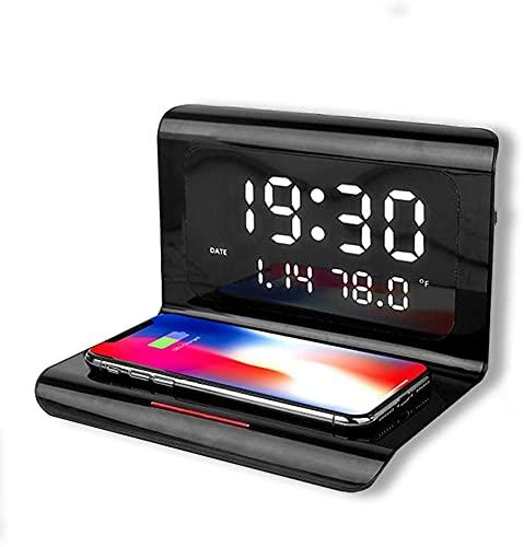 Estación De Carga Inalámbrica De Reloj De Alarma Digital Con Carga Inalámbrica, Estación De Carga De Cabecera, Cargador Inalámbrico De 10w Qi Con Reloj Despertador, Compatible Con Teléfon(Color:Negro)