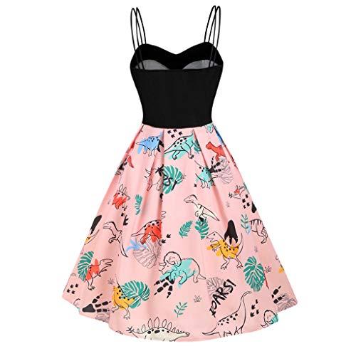 LISTHA Vintage Dance Party Swing Dress Women Dinosaur Empire Waist Mini Dresses Pink