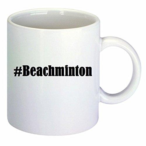 Kaffeetasse #Beachminton Hashtag Raute Keramik Höhe 9,5cm ? 8cm in Weiß