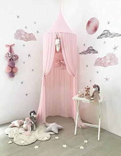 Ciel de lit pour enfants, en mousseline de soie, motif princesse, décoration de chambre pour bébé (basique, rose)