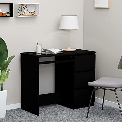 Escritorio para computadora, Escritorio para Juegos Escritorio para Escribir Escritorio para Estudio de Trabajo PC Escritorio para computadora portátil Escritorio Negro 90x45x76 cm Aglomerado