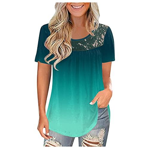 Camiseta de manga corta para mujer, de encaje, lisa, de manga corta, para oficina, diario, costura, bonita camiseta verde M