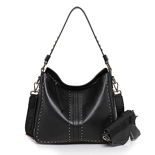 Montana West Genuine Leather Concealed Carry Purses And Handbags For Women Handgun Tote Black MWL-G005BK