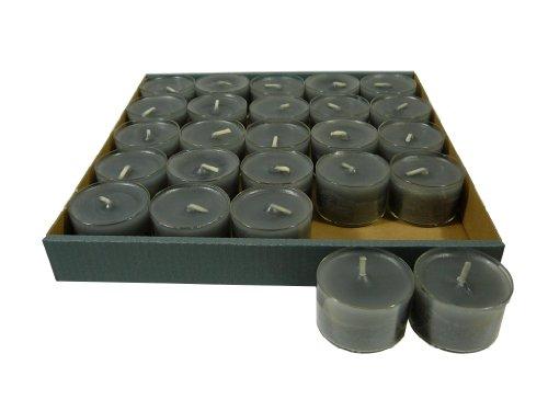 Wenzel 25 Stück Teelichter im Acryl - Cup, Nightlights, Anthrazit/Grau, bis zu 8 Stunden Brenndauer, Klarsichtgehäuse, transparente Hülle, Sparpack