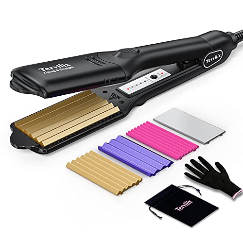 crimping irons Terviiix Hair Crimper for Women with 4 Interchangeable Plates, Keratin & Argan Oil Infused Crimping Iron for Hair, Volumizing Crimper Hair Iron with 5 Heat Settings & 60 Min Auto Off
