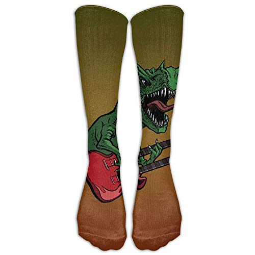 Medias de tubo deportivo para guitarra eléctrica de dinosaurios para mujer, clásicas, hasta la rodilla, calcetines largos para deporte, talla única