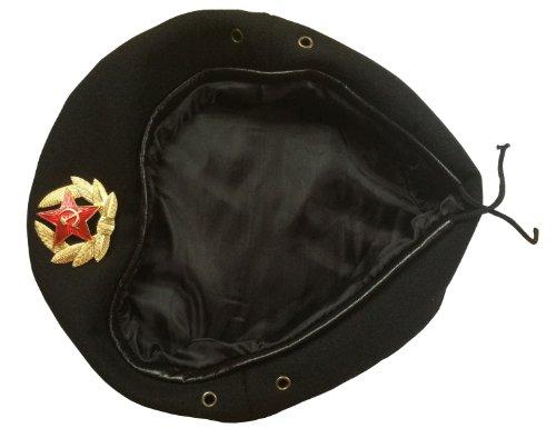Ganwear® Sowjetische UDSSR Stil Russische Armee Uniform Schwarz Baskenmütze Hut Kappe Spezialeinheiten Abzeichen