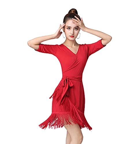 ZYLL Mujeres Ropa de Baile Borla Traje de Baile Latino Vestidos de Tango Competencia de saln Ropa de Baile,Rojo,L