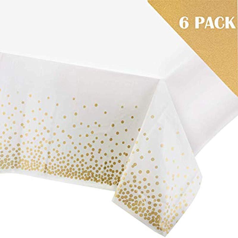 Buterify Jewelry 6 Pack Plastic Tablecloths For Rectangle Tables Rectangular Table Covers Party Table Cloths Disposable White Tablecloth With Gold Polka Dot Pattern 54 X 108 Gold Dot Confetti