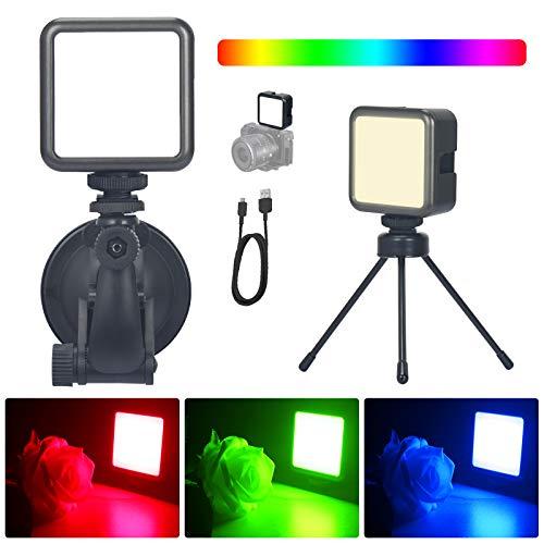 RGB Video Licht, Beleuchtung Videokonferenz mit Stativ und Suction Cup, LED Videolicht mit Eingebautem Akku, Video Light für Videokonferenz, Kamera, Fernunterricht (Magnetischer, 2500K-9000K)