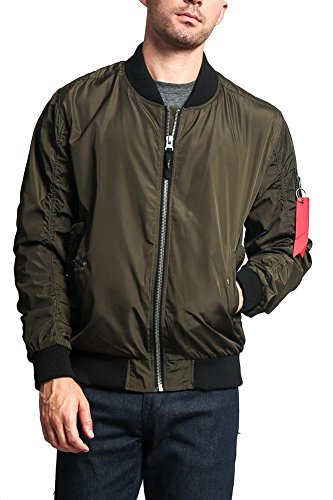 Victorious Men's Contrast Lightweight Bomber Flight Jacket JK752 - Olive - Large - I8A