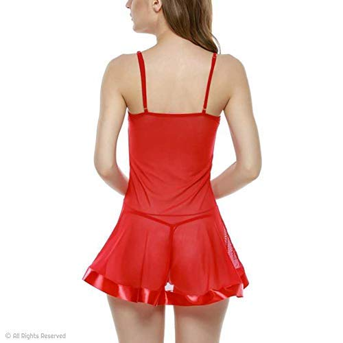 KITTYBEES Women's Net Above knee Baby Doll With G string Panty (L42_Red_Free Size)