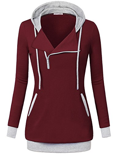 Messic Casual Tunic Sweatshirt, Women's Casual Fashion Lady Women Autumn Zipper Pullover Hoodie Sweatshirt,Wine,Medium