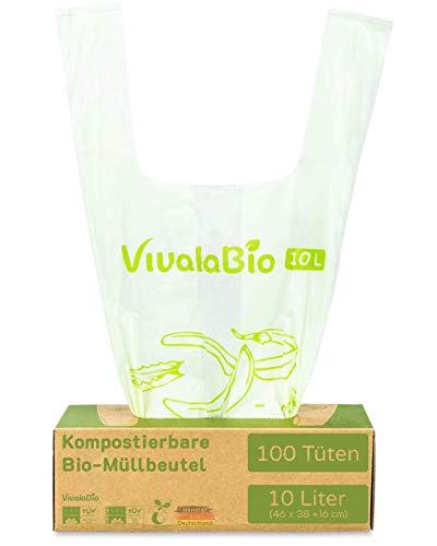 VivalaBio Bio Müllbeutel 10l mit Henkel 100 Stück 100% kompostierbar & biologisch abbaubar, Biomüllbeutel Biomülltüten für Mülleimer