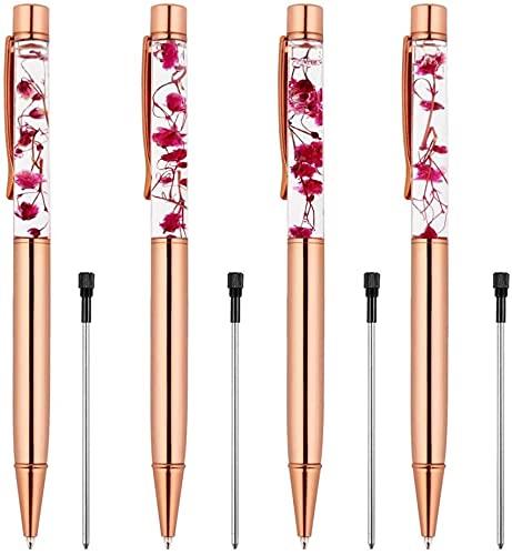 Weimay 4 PiecesRose Gold Ballpoint Pen Metal Ball Pens Dynamic Liquid Flower Pen Black Ink Pen Refills for Office Rose Gold Desk Supplies