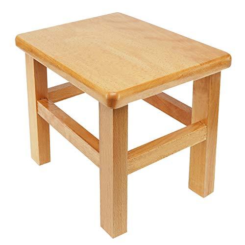NaughtyKid Taburete de madera, pequeño taburete de madera, no requiere montaje, hecho a mano para cocina, dormitorio, sala de estar, baño, lavandería o jardín