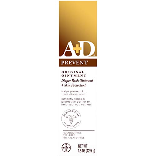 A+D Original Diaper Rash Ointment, Baby Skin Protectant With Lanolin and Petrolatum, Seals Out Wetness, Helps Prevent Diaper Rash, 1.5 Ounce Tube, Packaging May Vary