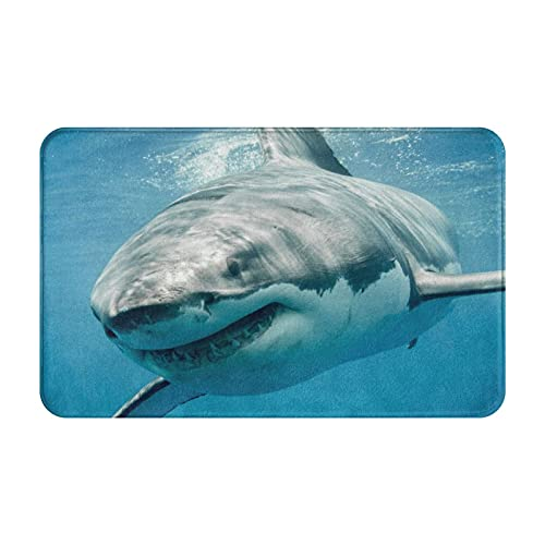 DECISAIYA Felpudo Entrada Casa Rectangular OceanShark Jaws Tusk Keenness Predación bajo el Agua Impermeable Antideslizante Lavable Alfombra para Interior y Exterior 50x80cm