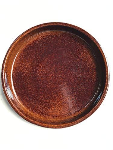 K&K Keramik, sottovaso rotondo per vaso Venus II, con o senza manico, 19 x 15 cm, diametro di 16 cm, colore marrone brillante, in gres (ceramica di alta qualità)